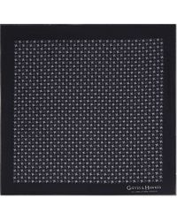 Gieves & Hawkes - Black Houndstooth Silk Pocket Square for Men - Lyst
