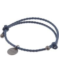 Bottega Veneta - Blue Intrecciato Leather Beaded Thin Wrap Bracelet - Lyst