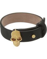 Alexander McQueen - Metallic Leather Skull Bracelet - Lyst