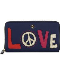 Tory Burch | Blue Love Peace Leather Zip-around Wallet | Lyst