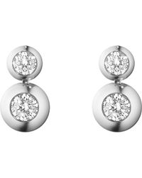 Georg Jensen | Metallic Aurora 18ct White Gold And Diamond Drop Earrings | Lyst