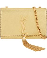 Saint Laurent | Metallic Monogram Small Leather Shoulder Bag | Lyst