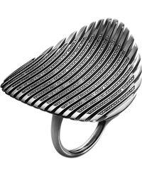 Georg Jensen - Lamellae Collection Black Rhodium And Black Diamond Ring - Lyst