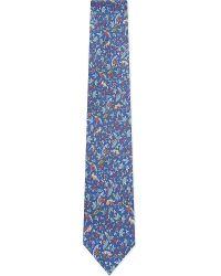 Ferragamo - Blue Floral Fox Pattern Silk Tie for Men - Lyst