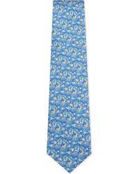 Ferragamo - Blue Monkey And Palm Tree Silk Tie for Men - Lyst