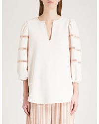 See By Chloé - Natural Laddered-detail Crepe And Cotton Top - Lyst