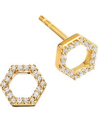 Astley Clarke | Honeycomb 14ct Yellow Gold And Diamond Stud Earrings | Lyst