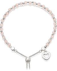 Astley Clarke | Metallic Heart Sterling Silver And Rose Quartz Kula Bracelet | Lyst