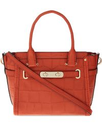COACH | Red Swagger 21 Crocodile-embossed Leather Tote | Lyst