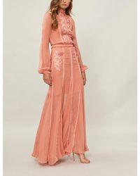 Costarellos - Orange Floral-embroidered Silk-chiffon Gown - Lyst