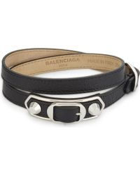 Balenciaga - Black Metallic Edge Leather Bracelet - Lyst