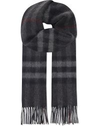 Burberry | Black Giant Check Cashmere Scarf for Men | Lyst