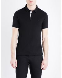 Armani Jeans | Black Two-tone Cotton-jersey Polo Shirt for Men | Lyst