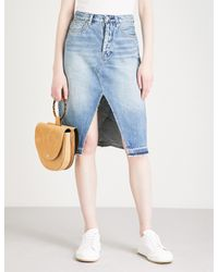 Free People - Blue Raw Hem Midi Length Denim Skirt - Lyst