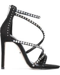 Carvela Kurt Geiger - Black Grass Studded Suedette Sandals - Lyst