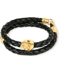 Nialaya - Black Braided Leather And Gold-plated Skull Bracelet - Lyst
