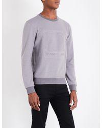 BOSS Orange - Gray Logo-embossed Cotton-jersey Sweatshirt for Men - Lyst