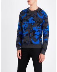 Sandro - Blue Camouflage-patterned Knitted Jumper for Men - Lyst