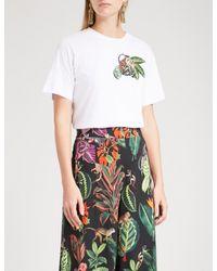 Oscar de la Renta - White Monkey Sequin-embellished Cotton-blend T-shirt - Lyst