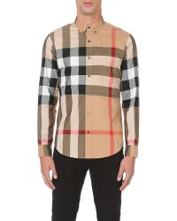 Burberry | Black Regular-fit Checked Cotton Shirt for Men | Lyst