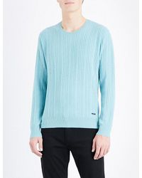 Burberry | Blue Cable-knit Cashmere Jumper for Men | Lyst