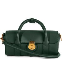 Burberry - Green Trench Leather Mini Barrel Bag - Lyst