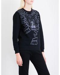 KENZO - Black Geotiger Cotton-jersey Sweatshirt - Lyst