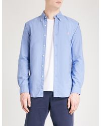 Polo Ralph Lauren - Blue Logo-embroidered Slim-fit Cotton Oxford Shirt for Men - Lyst