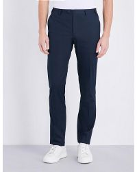 Corneliani | Blue Tailored-fit Straight Stretch-cotton Trousers for Men | Lyst