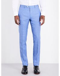 Corneliani | Blue Slim-fit Linen And Wool-blend Trousers for Men | Lyst