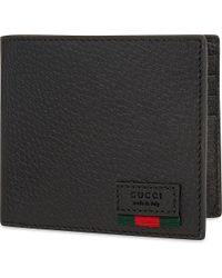 Gucci | Black Grained Leather Billfold for Men | Lyst