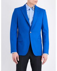 Alexander McQueen | Blue Single-breasted Wool Jacket for Men | Lyst