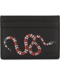 Gucci | Black Snakeprint Leather Cardholder | Lyst