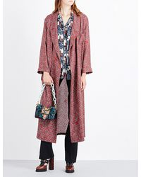Burberry - Red Paisley-print Silk-satin Coat - Lyst