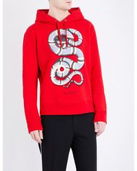 12a87fac425 Lyst - Gucci Snake-print Cotton-jersey Hoody in Red for Men