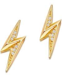 Astley Clarke - Mini Lightening Bolt 18ct Yellow Gold-plated Stud Earrings - Lyst