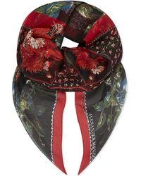 Alexander McQueen | Red Rose Print Silk Chiffon Scarf | Lyst