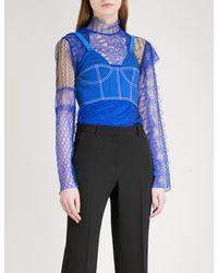 b15ccf6da8de7 Lyst - Givenchy Sleeveless Cotton Corset Bra in Blue