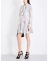 Alexander McQueen - Gray Marble-print Self-tie Silk Crepe-de-chine Dress - Lyst
