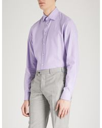 Armani - Purple Emporio Armani Mini Check Cotton Shirt for Men - Lyst