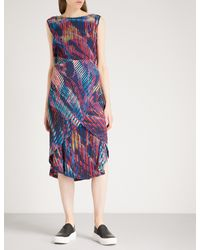Issey Miyake - Blue Double Stream Abstract-print Pleated Dress - Lyst