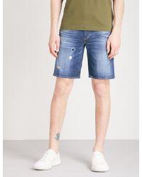 DIESEL - Blue Bust Slim-fit Faded-wash Denim Shorts for Men - Lyst