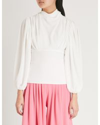 Emilia Wickstead - White Ronan Draped Crepe Blouse - Lyst