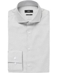 BOSS - Gray Micro-check Slim-fit Cotton Shirt for Men - Lyst