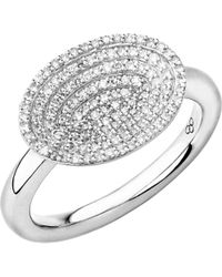 Links of London | Metallic Concave Sterling Silver And Diamond Ring | Lyst