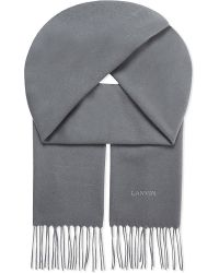 Lanvin | Gray Logo Embroidered Cashmere Scarf for Men | Lyst
