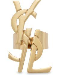 Saint Laurent | Metallic Logo Ring | Lyst