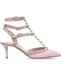 bcf9a08db790 Lyst - Valentino Rockstud 65 Leather T-bar Courts in Pink