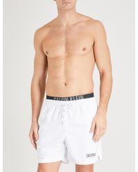 d581bf730a Calvin Klein Intense Power Double-waistband Swim Shorts in White for ...