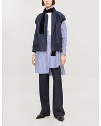 Sacai Blue Striped Cotton Shirt Dress